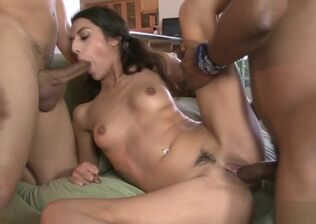 Multiracial young woman gang-bang